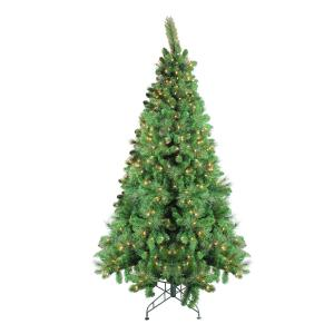 7.5′ Pre-Lit Canterbury Spruce with Dew Drops Artificial Christmas Tree – Clear Lights