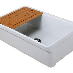 Tosca Farmhouse Fireclay 33″ Single Bowl Kitchen Sink with Grid, Cutting-Board and Strainer in White