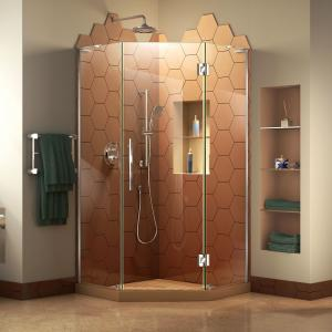 DreamLine Prism Plus 34 in. x 72 in. Frameless Neo-Angle Hinged Shower Enclosure in Chrome