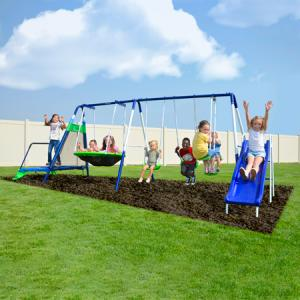 Sportspower Mountain View Metal Swing Set with Glide Ride, Saucer, Trampoline, and 6ft Heavy Duty Slide