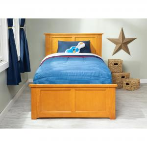 Madison Twin Platform Bed with Matching Foot Board with Twin Size Urban Trundle Bed in Caramel