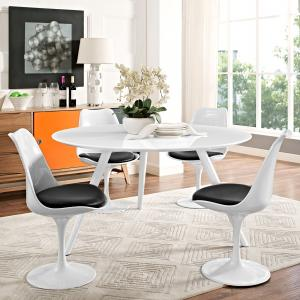 Modway Lippa 54″ Wood Top Dining Table with Tripod Base in White