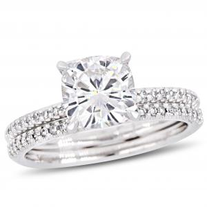 2 Carat T.G.W. Moissanite and 1/4 Carat T.W. Diamond 14kt White Gold Bridal Set