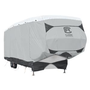 Classic Accessories Over Drive SkyShield™ Deluxe Water-Repellent 5th Wheel Trailer Cover, Fits 33′ – 37'L x 135″H, Model 5T