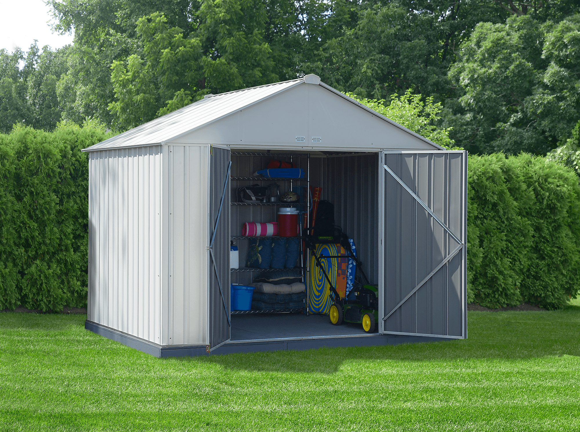 Steel Storage Shed 10 x 8 ft. Galvanized Extra High Gable Cream