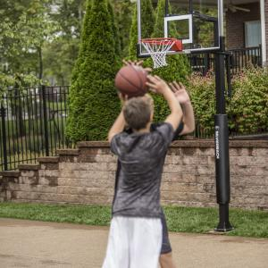 Silverback 60″ In-Ground Basketball System with Adjustable-Height Tempered Glass Backboard and Pro-Style Breakaway Rim