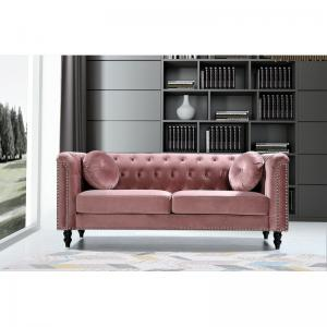 Connally Chesterfield 76″ Rolled Arms Sofa, Rose