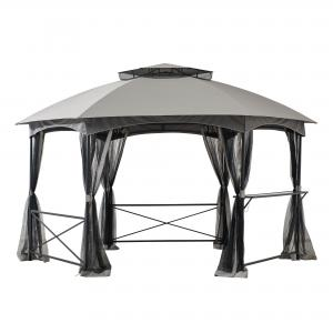 Sunjoy Beaux 14.7 ft. x 14.7 ft. 2-tone Gray Hexagon Steel Gazebo with 2-tier Dome Roof with Mosquito Netting