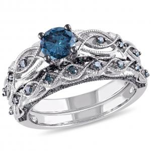 1 Carat T.W. Treated Blue Diamond 10kt White Gold Vintage Filigree Bridal Set