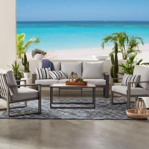 Better Homes & Gardens Belle Haven 4-Piece Conversation Outdoor Furniture Set, Metal