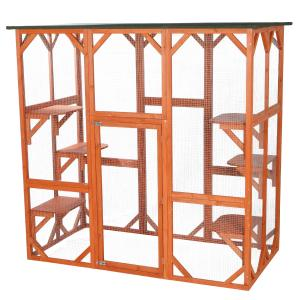 Trixie Pet Products, 2-Story Patio Enclosure, Outdoor Cat House with Ramp, Wooden, 70-in