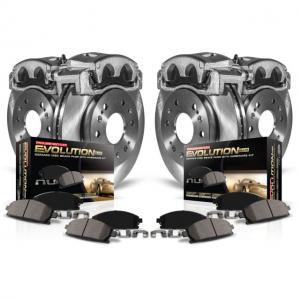 Power Stop Front and Rear Stock Replacement Brake Pad and Rotor Kit with Calipers KCOE5468