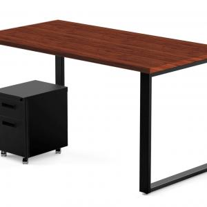 48″ x 24″ Desk and Mobile Pedestal, Windsor Mahogany Laminate / Black Finish