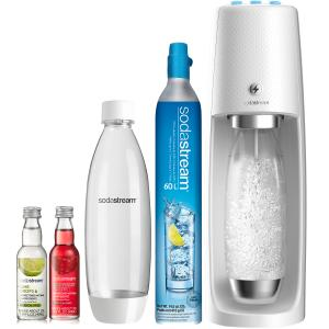 SodaStream One Touch Sparkling Water Maker (White) Bundle with CO2, 2 BPA free Bottles and 2 Fruit Drops