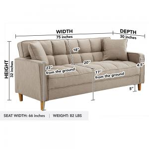Modern Tufted Small Space Living Room Sofa, Beige