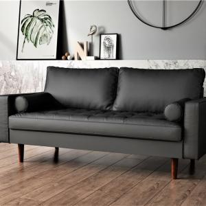 US Pride Furniture Mid-Century Gabler Loveseat in Faux Leather, Black