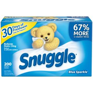 Snuggle Fabric Softener Dryer Sheets, Blue Sparkle, 200 Count