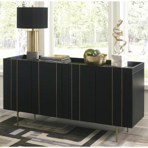 Signature Design by Ashley Brentburn Black/Gold Finish Accent Cabinet