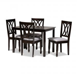 Baxton Studio Reneau Modern and Contemporary Gray Fabric Upholstered Espresso Brown Finished Wood 5-Piece Dining Set
