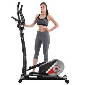 EUROCO Elliptical Trainer Magnetic Smooth Quiet Driven Elliptical Bike w/Heart Rate Monitoring, Red