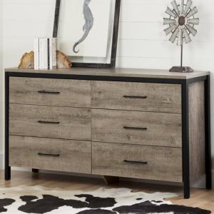 South Shore Munich 6-Drawer Double Dresser, Weathered Oak