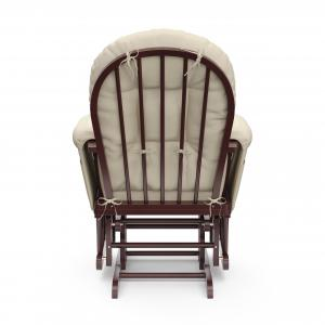 Storkcraft Bowback Glider and Ottoman Cherry Finish and Beige Cushions