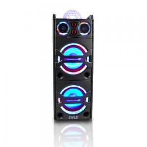 Pyle PSUFM1043BT – Bluetooth PA Loudspeaker Karaoke Entertainment System, Active Powered Speaker, Flashing DJ Party Lights, MP3/USB/SD, FM Radio, Wireless Mic