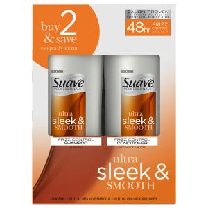 Suave Professionals Ultra Sleek and Smooth Shampoo and Conditioner with Silk Protein and Vitamin E for Hair for Frizz Control 28 oz, 2 Count