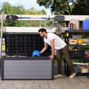 Keter Premier 150 Gallon Deck Box, Resin Outdoor Storage Box, Black and Gray Wood Look