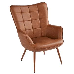SmileMart Faux Leather Wingback Accent Chair Upholstered Biscuit Tufted Club Accent Chair Contemporary Chair with Armchair for Living Room Bedroom,Brown