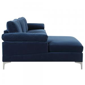 Mobilis Modern Large Microfiber Velvet Fabric L-Shape Sectional Sofa with Extra Wide Chaise Lounge, Navy