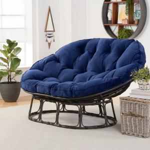 Better Homes & Gardens Papasan Bench with Cushion, Navy