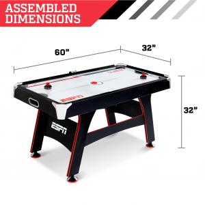 ESPN 5′ Air Powered Hockey Table with LED Electronic Scorer, Black/Red