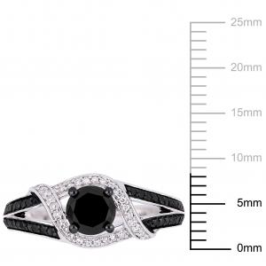 1 Carat T.W. Black and White Diamond 10kt White Gold Engagement Ring