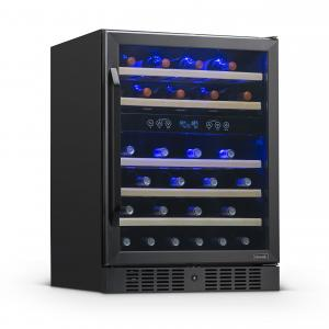 NewAir 24″ Built-in 46 Bottle Dual Zone Compressor Wine Fridge, Quiet Operation with Beech Wood Shelves – Black Stainless Steel