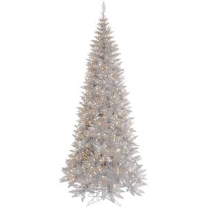 Vickerman 9′ Silver Tinsel Fir Artificial Christmas Tree with 700 Warm White LED Lights