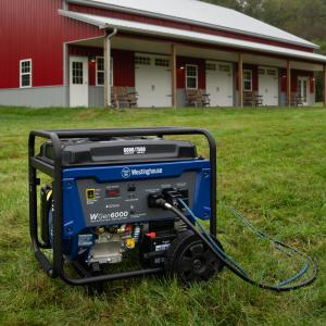 Westinghouse WGen6000 Portable Generator with Electric Start – 6000 Rated Watts & 7500 Peak Watts – Gas Powered – CARB Compliant