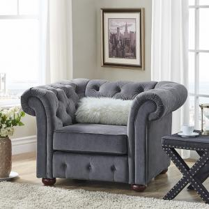 Weston Home Bowman Tufted Accent Chair With Curved Arms, Dark Grey Velvet