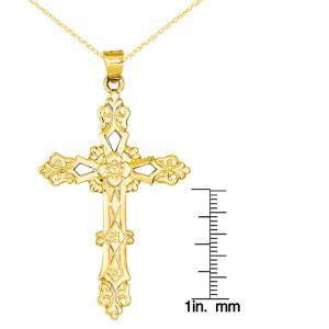 Primal Gold 14 Karat Yellow Gold Polished Cross Pendant with 18 Inch Cable Chain