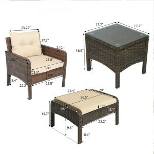 5 Pieces Set PE Rattan Wicker Outdoor Patio Furniture Set Glass Top Table Upholstered Ottoman Chair Kit