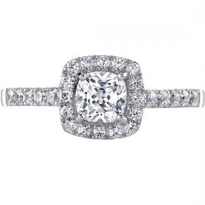 Oravo 0.5 ct Cushion Cut Cubic Zirconia Engagement Ring and Wedding Band Set in 14K White Gold