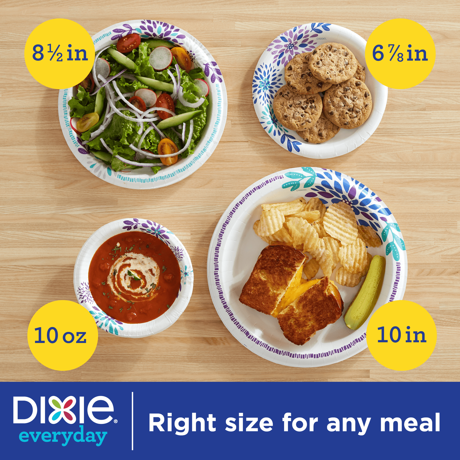 Dixie Everyday Paper Lunch Plates, 8.5″, 100 Count