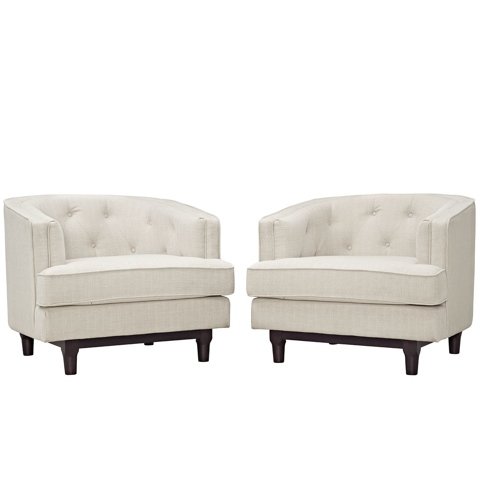 Modway Coast Living Room Set, Upholstered Armchairs, Set of 2, Multiple Colors