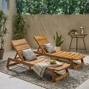 Cullen Outdoor Wood and Iron Chaise Lounges, Set of 2, Teak and Yellow