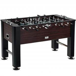 Barrington 56″ Furniture Foosball Soccer Game Table, Accessories Included, Black/Brown
