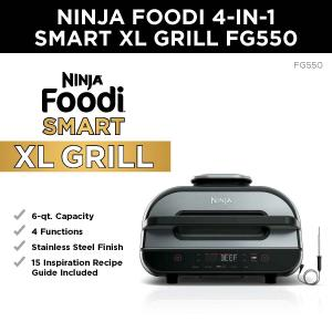 Ninja® Foodi™ Smart XL 4-in-1 Indoor Grill with 4-qt Air Fryer, Roast, and Bake, FG550
