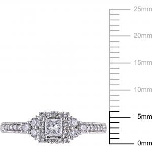 Miabella 1/2 Carat T.W. Princess and Round-Cut Certified Diamond 14kt White Gold Halo Miligrain Design Engagement Ring