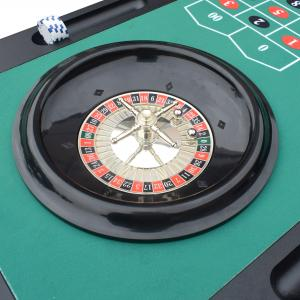 Hathaway Monte Carlo 4-In-1 Casino Table with Blackjack, Roulette, Craps and Bar Table, Black/Green, 47.75-in W