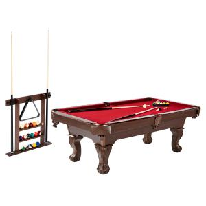Barrington Billiard 90″ Pool Table with Cue Rack, Accessories Included, Red/Brown