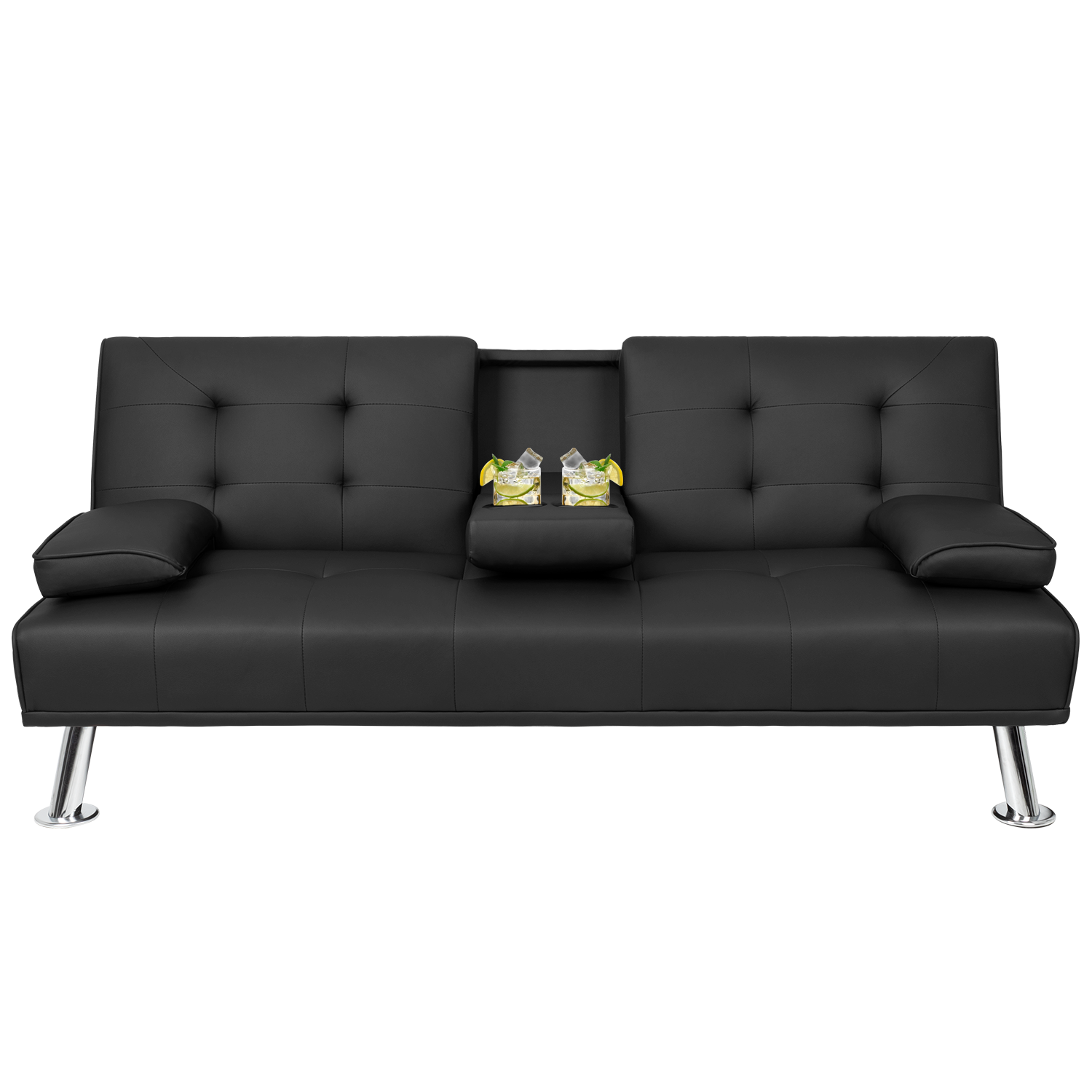 Walnew Modern PU Leather Convertible Futon with Cupholders & Pillows, Black
